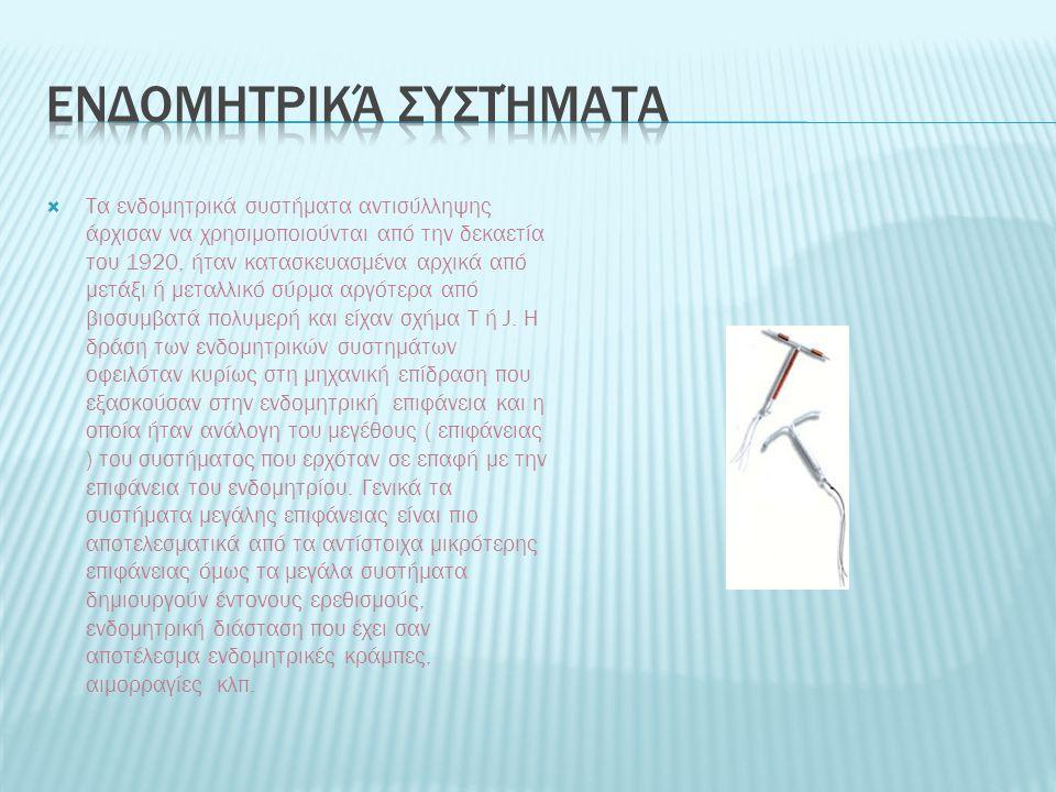  Τα ενδομητρικά συστήματα αντισύλληψης άρχισαν να χρησιμοποιούνται από την δεκαετία του 1920, ήταν κατασκευασμένα αρχικά από μετάξι ή μεταλλικό σύρμα