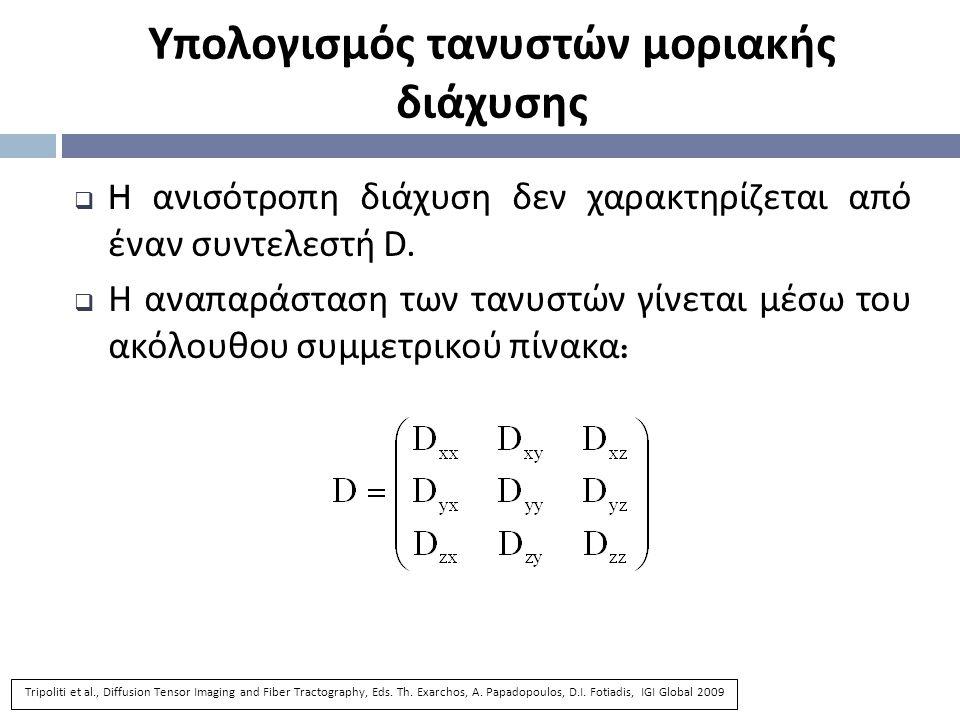 Υπολογισμός τανυστών μοριακής διάχυσης  H ανισότροπη διάχυση δεν χαρακτηρίζεται από έναν συντελεστή D.