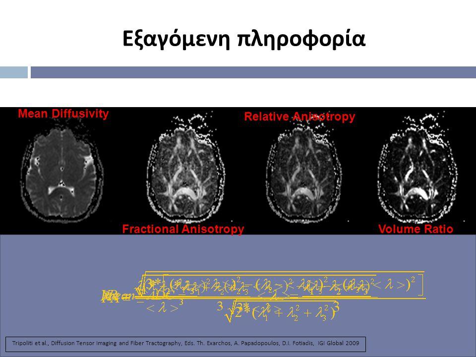 Εξαγόμενη πληροφορία Fractional Anisotropy Relative Anisotropy Volume Ratio Mean Diffusivity Tripoliti et al., Diffusion Tensor Imaging and Fiber Tractography, Eds.