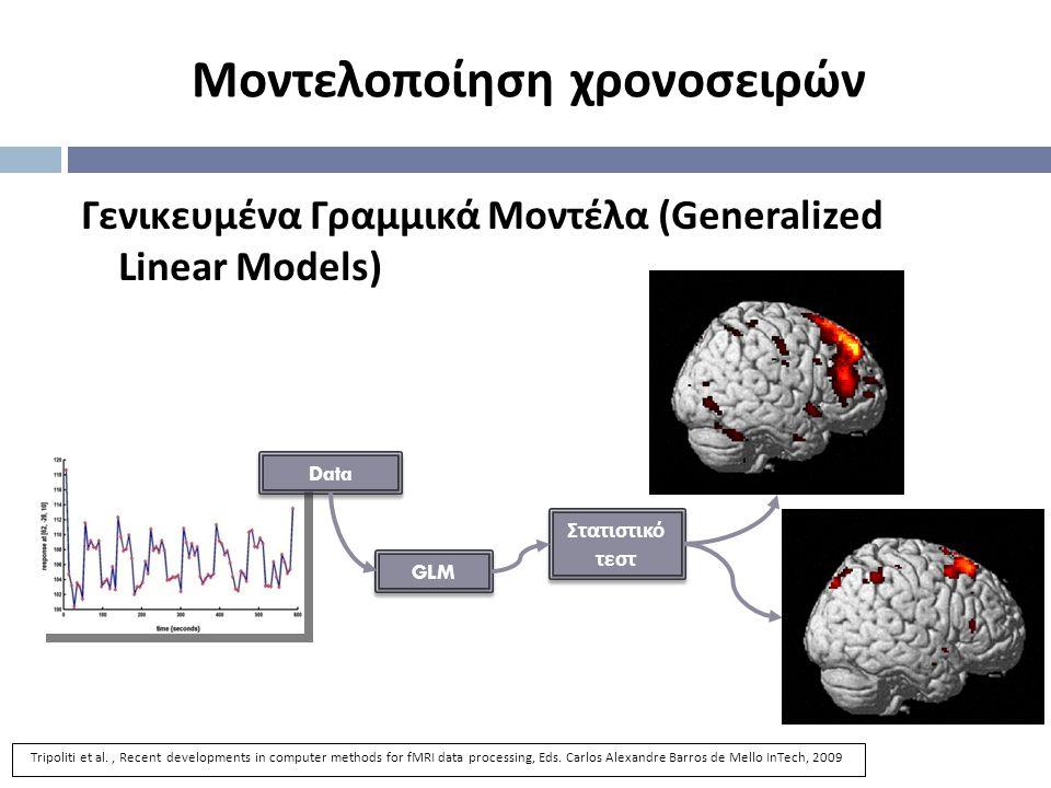 Data GLM Στατιστικό τεστ Γενικευμένα Γραμμικά Μοντέλα (Generalized Linear Models) Μοντελοποίηση χρονοσειρών Tripoliti et al., Recent developments in computer methods for fMRI data processing, Eds.