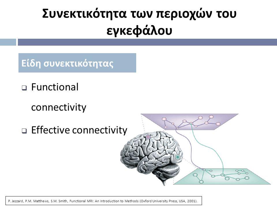 Συνεκτικότητα των περιοχών του εγκεφάλου  Functional connectivity  Effective connectivity Είδη συνεκτικότητας P.