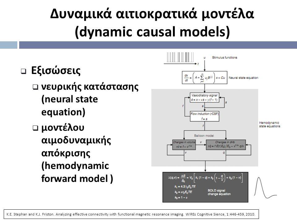 Δυναμικά αιτιοκρατικά μοντέλα ( dynamic causal models)  Εξισώσεις  νευρικής κατάστασης (neural state equation)  μοντέλου αιμοδυναμικής απόκρισης ( hemodynamic forward model ) K.E.