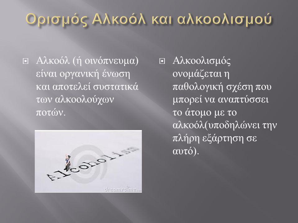  Αλκοόλ ( ή οινόπνευμα ) είναι οργανική ένωση και αποτελεί συστατικά των αλκοολούχων ποτών.  Αλκοολισμός ονομάζεται η παθολογική σχέση που μπορεί να