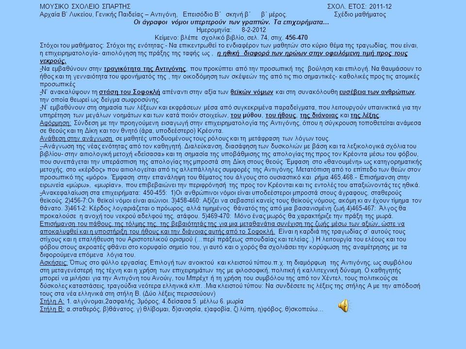 ΜΟΥΣΙΚΟ ΣΧΟΛΕΙΟ ΣΠΑΡΤΗΣ ΣΧΟΛ. ΕΤΟΣ: 2011-12 Αρχαία Β' Λυκείου, Γενικής Παιδείας – Αντιγόνη, Επεισόδιο Β΄ σκηνή β΄ β΄ μέρος. Σχέδιο μαθήματος Οι άγραφο