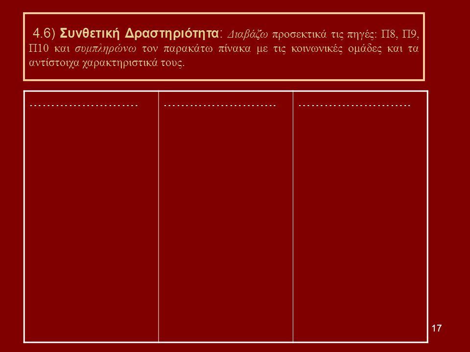 17 4.6) Συνθετική Δραστηριότητα: Διαβάζω προσεκτικά τις πηγές: Π8, Π9, Π10 και συμπληρώνω τον παρακάτω πίνακα με τις κοινωνικές ομάδες και τα αντίστοιχα χαρακτηριστικά τους.
