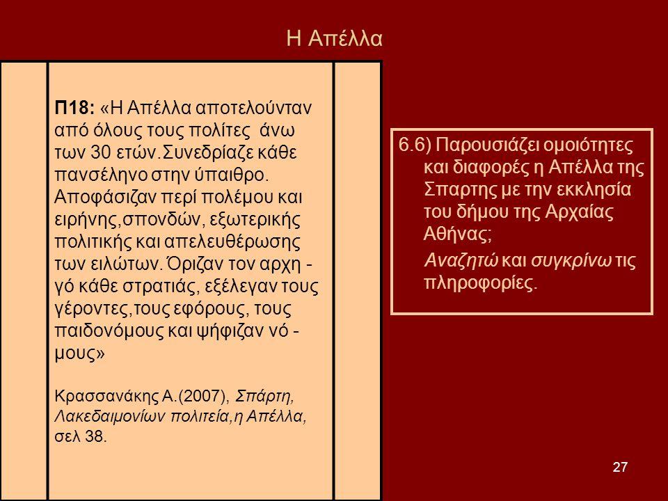 27 Η Απέλλα 6.6) Παρουσιάζει ομοιότητες και διαφορές η Απέλλα της Σπαρτης με την εκκλησία του δήμου της Αρχαίας Αθήνας; Αναζητώ και συγκρίνω τις πληρο