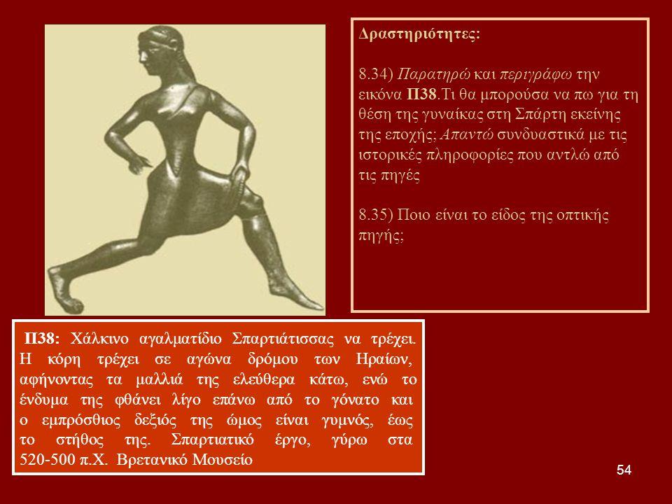54 Π38: Χάλκινο αγαλματίδιο Σπαρτιάτισσας να τρέχει. Η κόρη τρέχει σε αγώνα δρόμου των Ηραίων, αφήνοντας τα μαλλιά της ελεύθερα κάτω, ενώ το ένδυμα τη