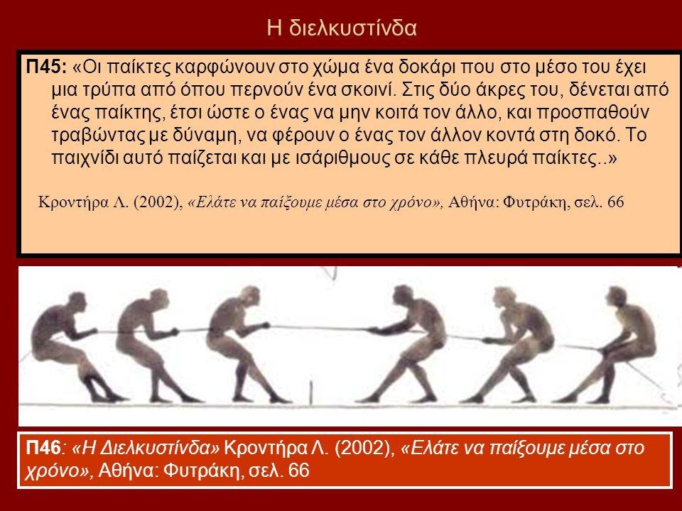 61 Η διελκυστίνδα Π45: «Οι παίκτες καρφώνουν στο χώμα ένα δοκάρι που στο μέσο του έχει μια τρύπα από όπου περνούν ένα σκοινί. Στις δύο άκρες του, δένε
