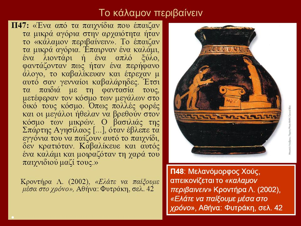 63 Το κάλαμον περιβαίνειν Π47: «Ένα από τα παιχνίδια που έπαιζαν τα μικρά αγόρια στην αρχαιότητα ήταν το «κάλαμον περιβαίνειν».
