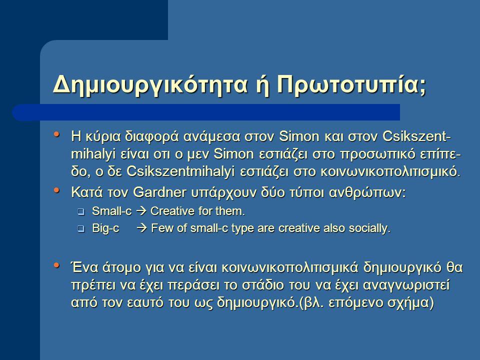 Δημιουργικότητα ή Πρωτοτυπία; Η κύρια διαφορά ανάμεσα στον Simon και στον Csikszent- mihalyi είναι οτι ο μεν Simon εστιάζει στο προσωπικό επίπε- δο, ο δε Csikszentmihalyi εστιάζει στο κοινωνικοπολιτισμικό.