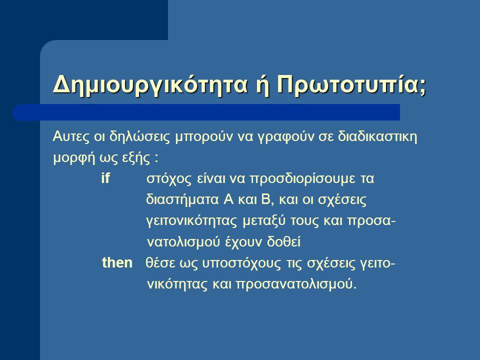 Δημιουργικότητα ή Πρωτοτυπία; Αυτες οι δηλώσεις μπορούν να γραφούν σε διαδικαστικη μορφή ως εξής : if στόχος είναι να προσδιορίσουμε τα διαστήματα Α κ
