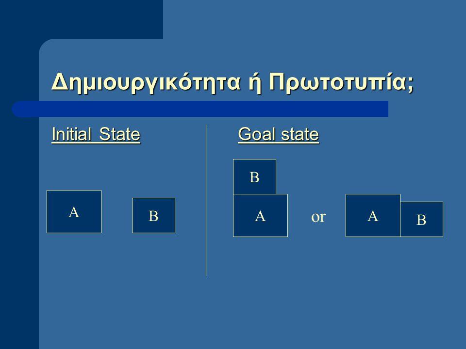 Δημιουργικότητα ή Πρωτοτυπία; Initial StateGoal state A B B AA B or