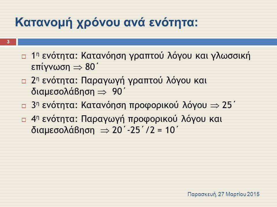 Κατανομή χρόνου ανά ενότητα:  1 η ενότητα: Κατανόηση γραπτού λόγου και γλωσσική επίγνωση  80΄  2 η ενότητα: Παραγωγή γραπτού λόγου και διαμεσολάβηση  90΄  3 η ενότητα: Κατανόηση προφορικού λόγου  25΄  4 η ενότητα: Παραγωγή προφορικού λόγου και διαμεσολάβηση  20΄-25΄/2 = 10΄ Παρασκευή, 27 Μαρτίου 2015 3