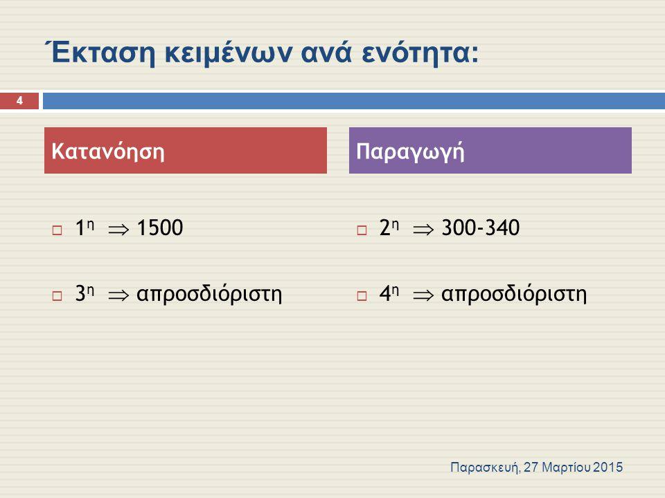 Έκταση κειμένων ανά ενότητα:  1 η  1500  3 η  απροσδιόριστη  2 η  300-340  4 η  απροσδιόριστη Κατανόηση Παραγωγή Παρασκευή, 27 Μαρτίου 2015 4