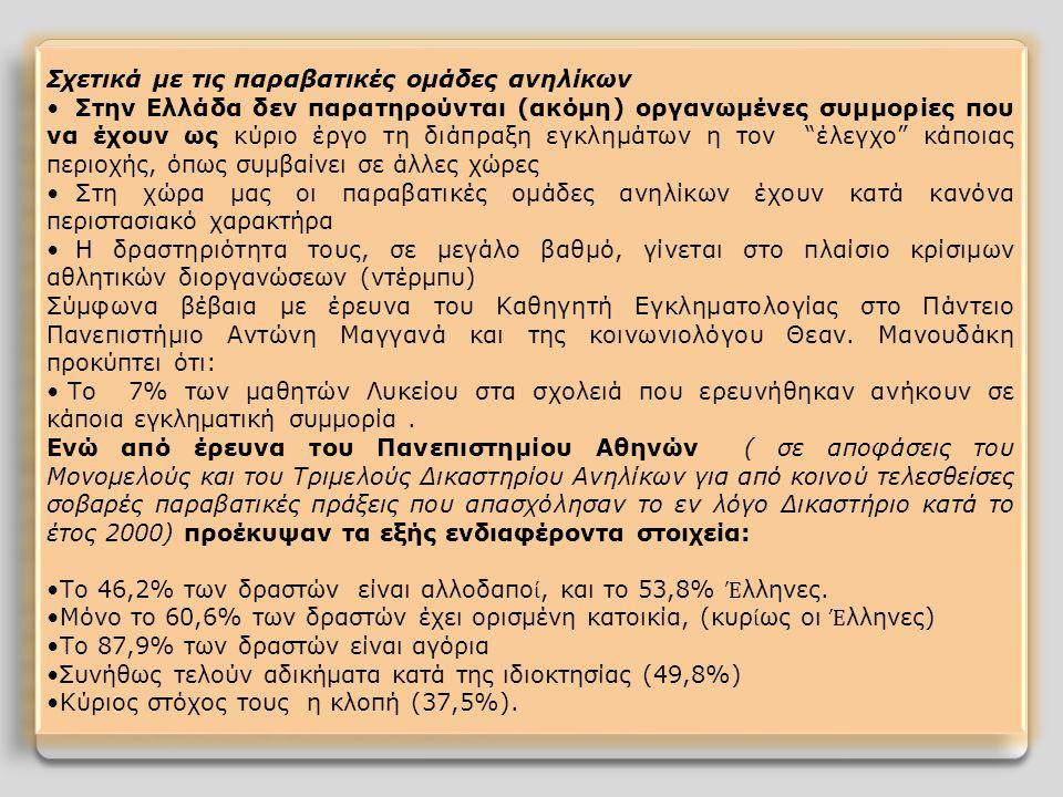 Σχετικά με τις παραβατικές ομάδες ανηλίκων Στην Ελλάδα δεν παρατηρούνται (ακόμη) οργανωμένες συμμορίες που να έχουν ως κύριο έργο τη διάπραξη εγκλημάτων η τον έλεγχο κάποιας περιοχής, όπως συμβαίνει σε άλλες χώρες Στη χώρα μας οι παραβατικές ομάδες ανηλίκων έχουν κατά κανόνα περιστασιακό χαρακτήρα Η δραστηριότητα τους, σε μεγάλο βαθμό, γίνεται στο πλαίσιο κρίσιμων αθλητικών διοργανώσεων (ντέρμπυ) Σύμφωνα βέβαια με έρευνα του Καθηγητή Εγκληματολογίας στο Πάντειο Πανεπιστήμιο Αντώνη Μαγγανά και της κοινωνιολόγου Θεαν.