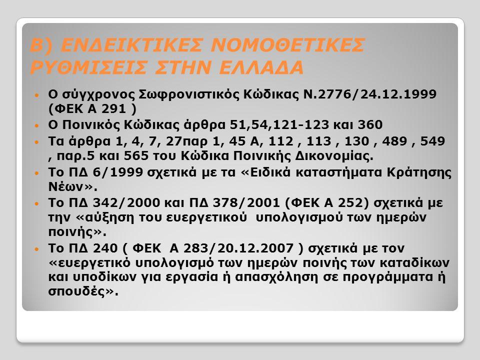 Β) ΕΝΔΕΙΚΤΙΚΕΣ ΝΟΜΟΘΕΤΙΚΕΣ ΡΥΘΜΙΣΕΙΣ ΣΤΗΝ ΕΛΛΑΔΑ Ο σύγχρονος Σωφρονιστικός Κώδικας Ν.2776/24.12.1999 (ΦΕΚ Α 291 ) Ο Ποινικός Κώδικας άρθρα 51,54,121-123 και 360 Τα άρθρα 1, 4, 7, 27παρ 1, 45 Α, 112, 113, 130, 489, 549, παρ.5 και 565 του Κώδικα Ποινικής Δικονομίας.