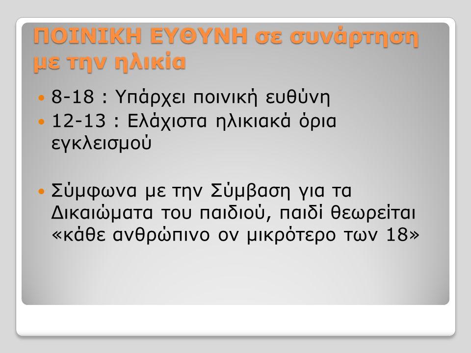 ΠΟΙΝΙΚΗ ΕΥΘΥΝΗ σε συνάρτηση με την ηλικία 8-18 : Υπάρχει ποινική ευθύνη 12-13 : Ελάχιστα ηλικιακά όρια εγκλεισμού Σύμφωνα με την Σύμβαση για τα Δικαιώματα του παιδιού, παιδί θεωρείται «κάθε ανθρώπινο ον μικρότερο των 18»