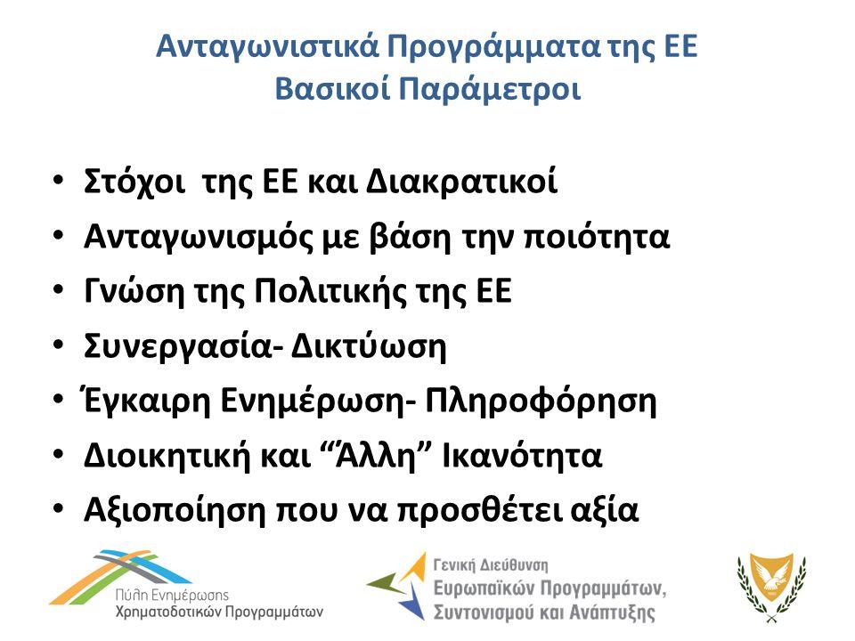 Ανταγωνιστικά Προγράμματα της ΕΕ Βασικοί Παράμετροι Στόχοι της ΕΕ και Διακρατικοί Ανταγωνισμός με βάση την ποιότητα Γνώση της Πολιτικής της ΕΕ Συνεργασία- Δικτύωση Έγκαιρη Ενημέρωση- Πληροφόρηση Διοικητική και Άλλη Ικανότητα Αξιοποίηση που να προσθέτει αξία