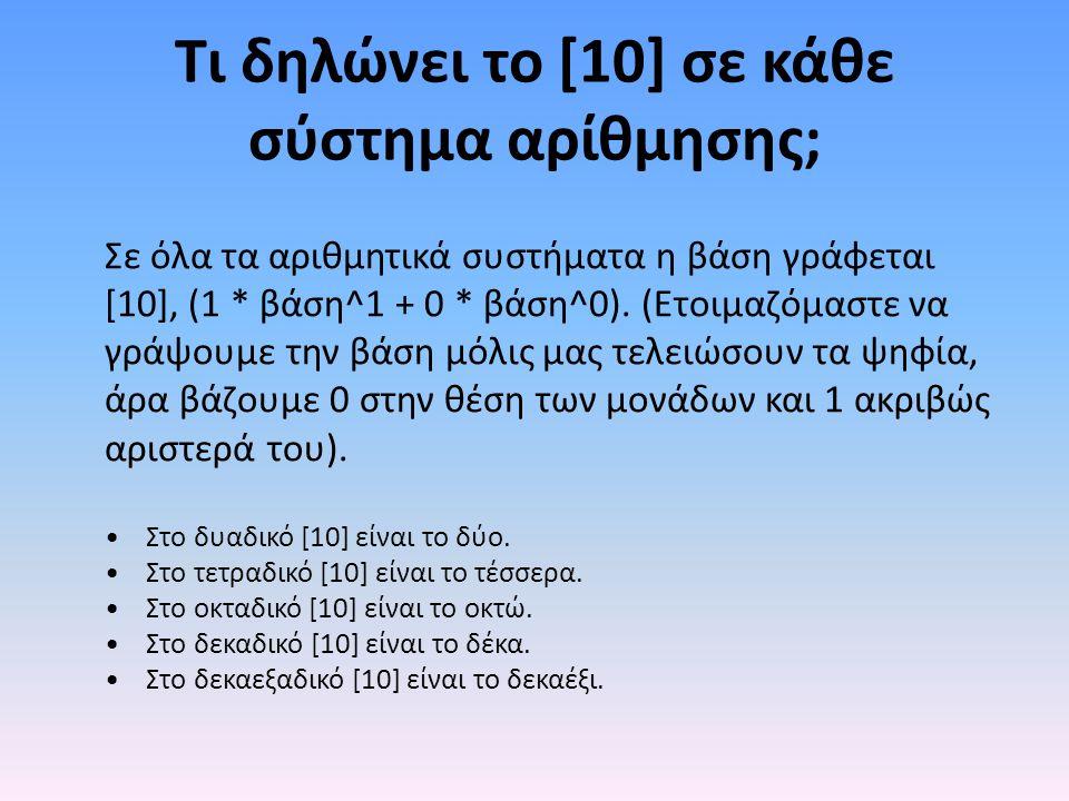 Τι δηλώνει το [10] σε κάθε σύστημα αρίθμησης; Σε όλα τα αριθμητικά συστήματα η βάση γράφεται [10], (1 * βάση^1 + 0 * βάση^0).