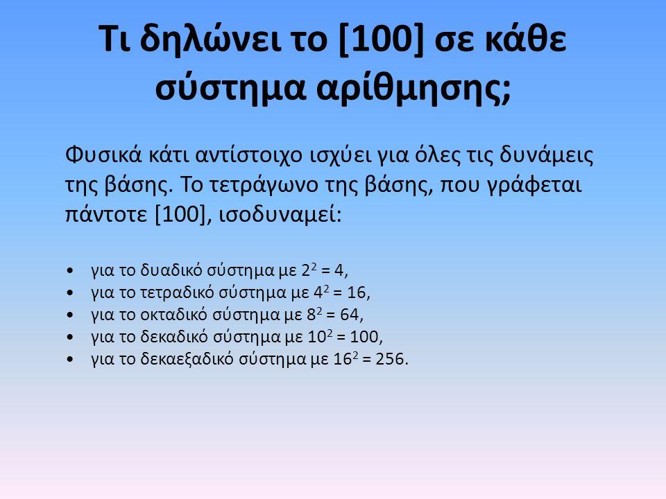Τι δηλώνει το [100] σε κάθε σύστημα αρίθμησης; Φυσικά κάτι αντίστοιχο ισχύει για όλες τις δυνάμεις της βάσης. Το τετράγωνο της βάσης, που γράφεται πάν