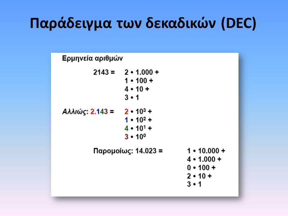 Παράδειγμα των δεκαδικών (DEC)