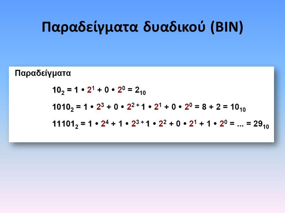 Παραδείγματα δυαδικού (BIN)