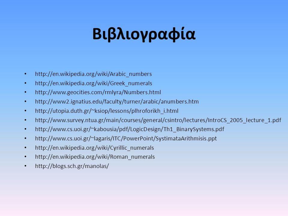 Βιβλιογραφία http://en.wikipedia.org/wiki/Arabic_numbers http://en.wikipedia.org/wiki/Greek_numerals http://www.geocities.com/rmlyra/Numbers.html http://www2.ignatius.edu/faculty/turner/arabic/anumbers.htm http://utopia.duth.gr/~ksiop/lessons/plhroforikh_i.html http://www.survey.ntua.gr/main/courses/general/csintro/lectures/IntroCS_2005_lecture_1.pdf http://www.cs.uoi.gr/~kabousia/pdf/LogicDesign/Th1_BinarySystems.pdf http://www.cs.uoi.gr/~lagaris/ITC/PowerPoint/SystimataArithmisis.ppt http://en.wikipedia.org/wiki/Cyrillic_numerals http://en.wikipedia.org/wiki/Roman_numerals http://blogs.sch.gr/manolas/