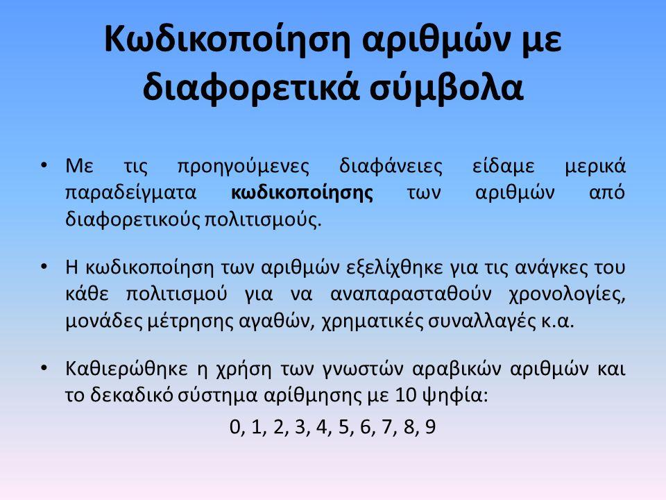 Κωδικοποίηση αριθμών με διαφορετικά σύμβολα Με τις προηγούμενες διαφάνειες είδαμε μερικά παραδείγματα κωδικοποίησης των αριθμών από διαφορετικούς πολιτισμούς.