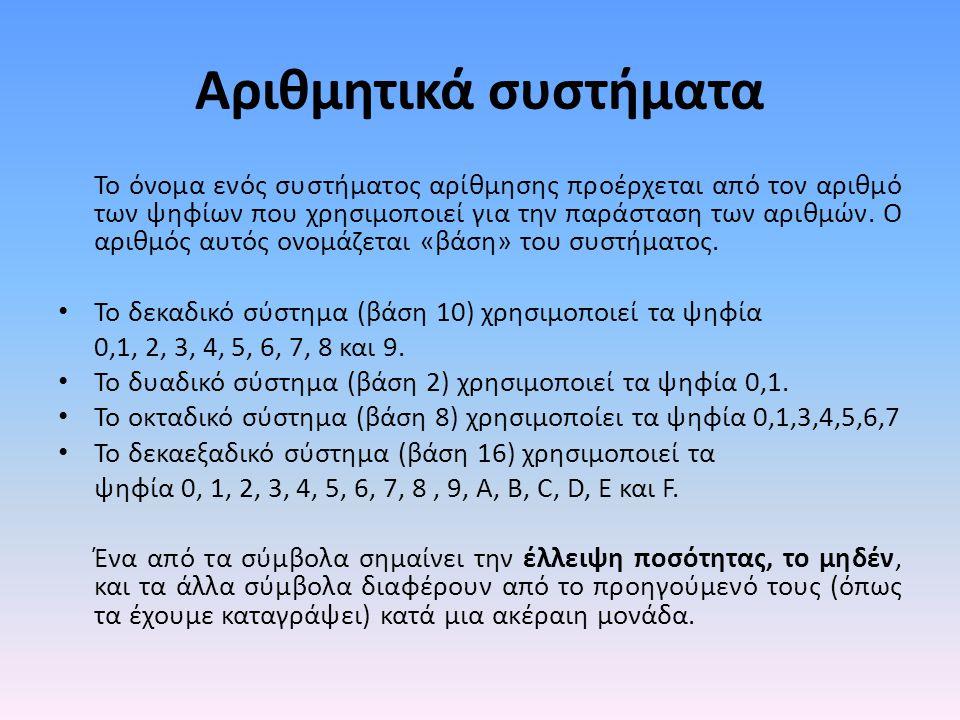 Αριθμητικά συστήματα Το όνομα ενός συστήματος αρίθμησης προέρχεται από τον αριθμό των ψηφίων που χρησιμοποιεί για την παράσταση των αριθμών.