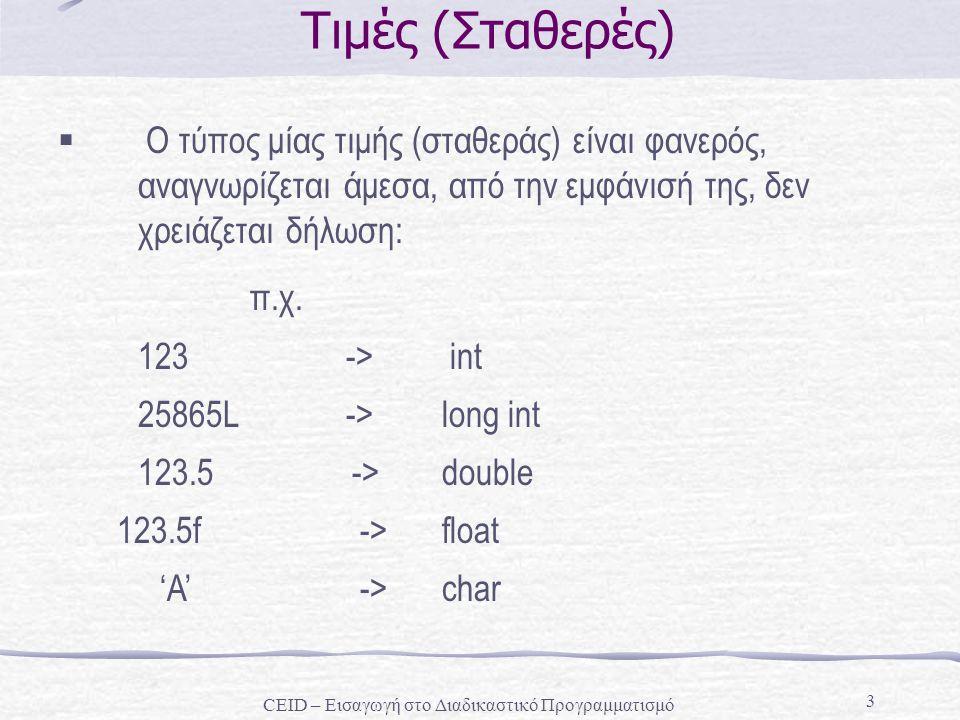 3 Τιμές (Σταθερές)  Ο τύπος μίας τιμής (σταθεράς) είναι φανερός, αναγνωρίζεται άμεσα, από την εμφάνισή της, δεν χρειάζεται δήλωση: π.χ. 123 -> int 25