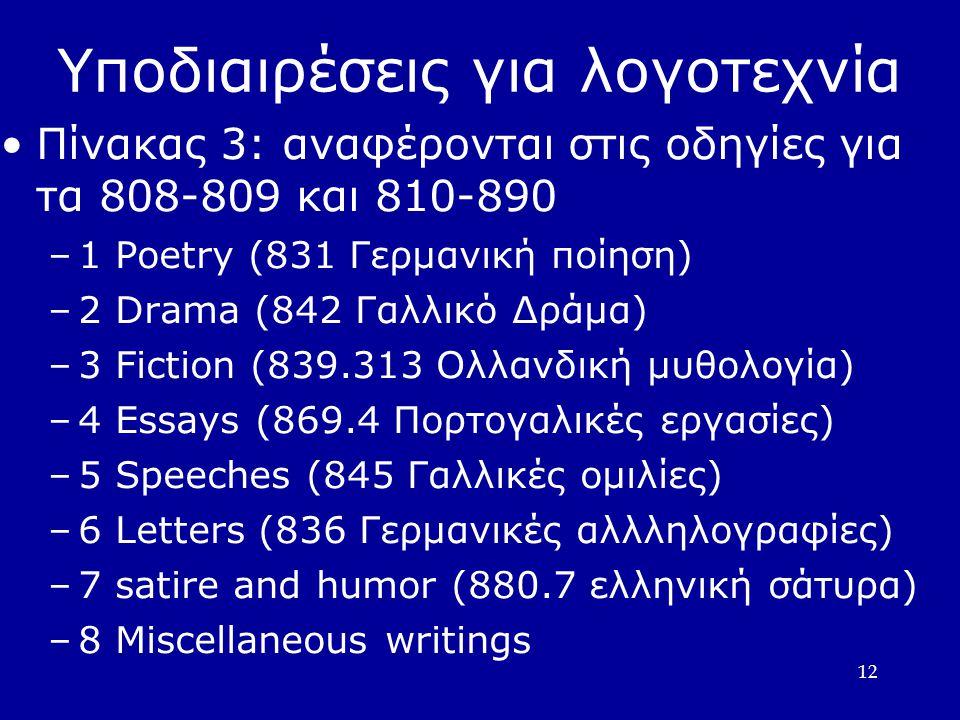 12 Υποδιαιρέσεις για λογοτεχνία Πίνακας 3: αναφέρονται στις οδηγίες για τα 808-809 και 810-890 –1 Poetry (831 Γερμανική ποίηση)  –2 Drama (842 Γαλλικό Δράμα)  –3 Fiction (839.313 Ολλανδική μυθολογία)  –4 Essays (869.4 Πορτογαλικές εργασίες)  –5 Speeches (845 Γαλλικές ομιλίες)  –6 Letters (836 Γερμανικές αλλληλογραφίες)  –7 satire and humor (880.7 ελληνική σάτυρα)  –8 Miscellaneous writings