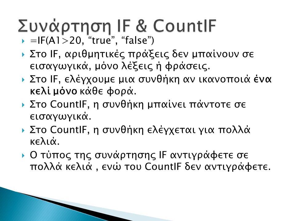 " =IF(A1>20, ""true"", ""false"")  Στο IF, αριθμητικές πράξεις δεν μπαίνουν σε εισαγωγικά, μόνο λέξεις ή φράσεις.  Στο IF, ελέγχουμε μια συνθήκη αν ικαν"