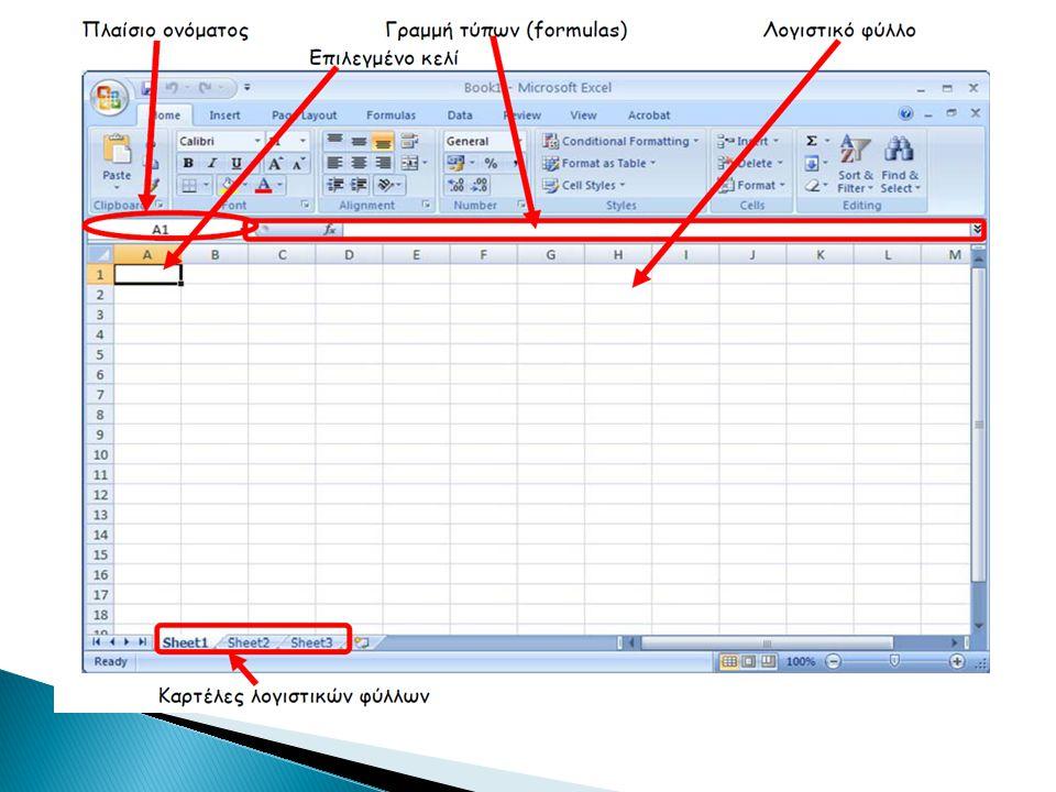  Σε κάθε κελί μπορούμε να γράψουμε χαρακτήρες (labels) ή να γράψουμε αριθμούς και μαθηματικούς τύπους (formulas).