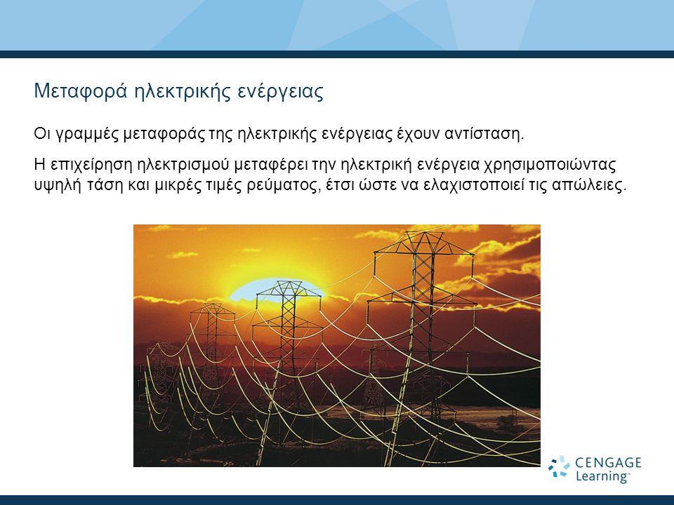 Μεταφορά ηλεκτρικής ενέργειας Οι γραμμές μεταφοράς της ηλεκτρικής ενέργειας έχουν αντίσταση.