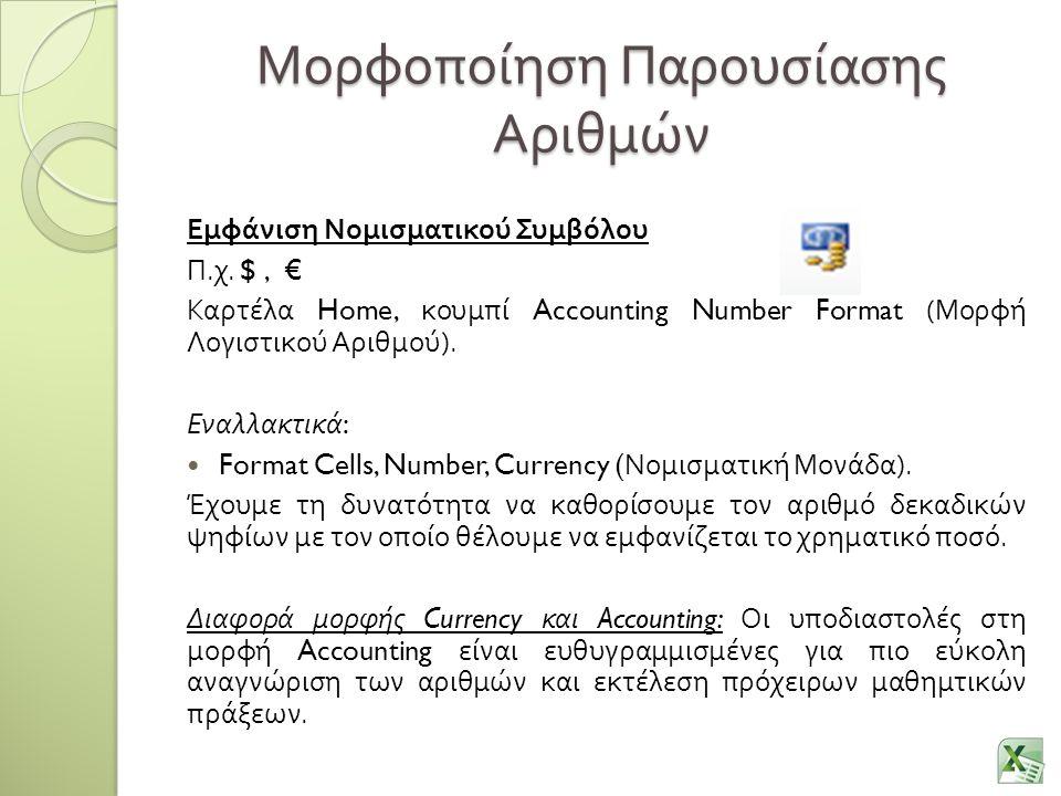 Μορφοποίηση Παρουσίασης Αριθμών Εμφάνιση Νομισματικού Συμβόλου Π.