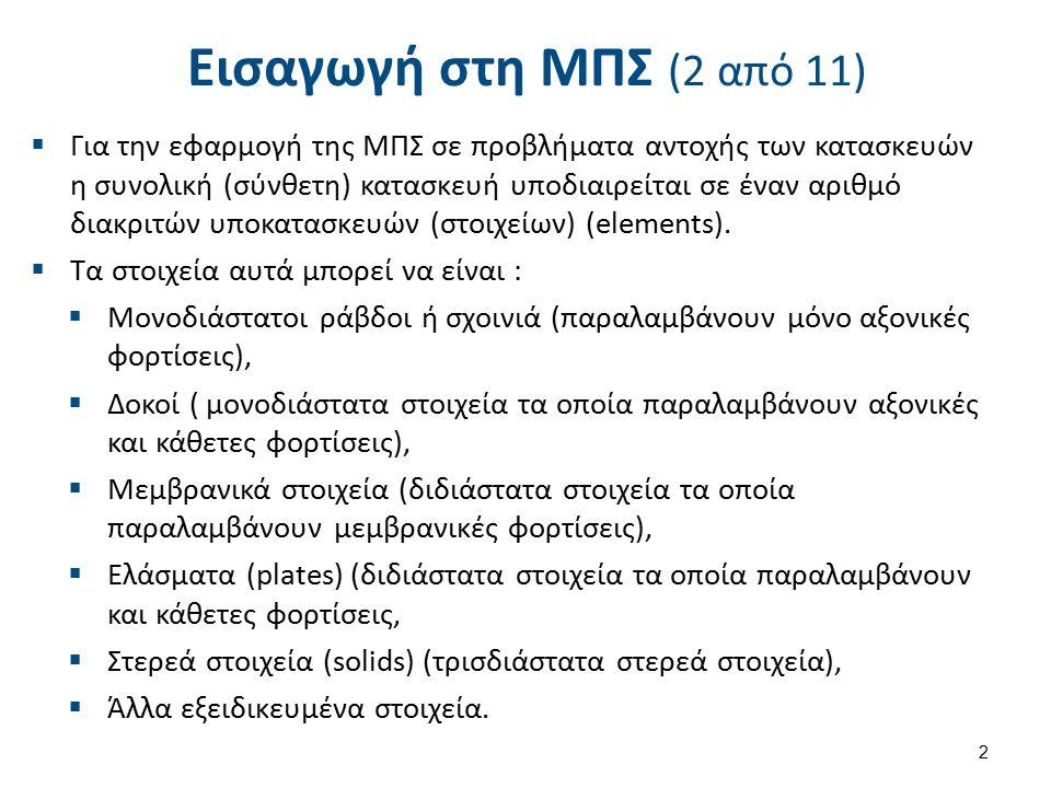 Εισαγωγή στη ΜΠΣ (2 από 11)  Για την εφαρμογή της ΜΠΣ σε προβλήματα αντοχής των κατασκευών η συνολική (σύνθετη) κατασκευή υποδιαιρείται σε έναν αριθμό διακριτών υποκατασκευών (στοιχείων) (elements).