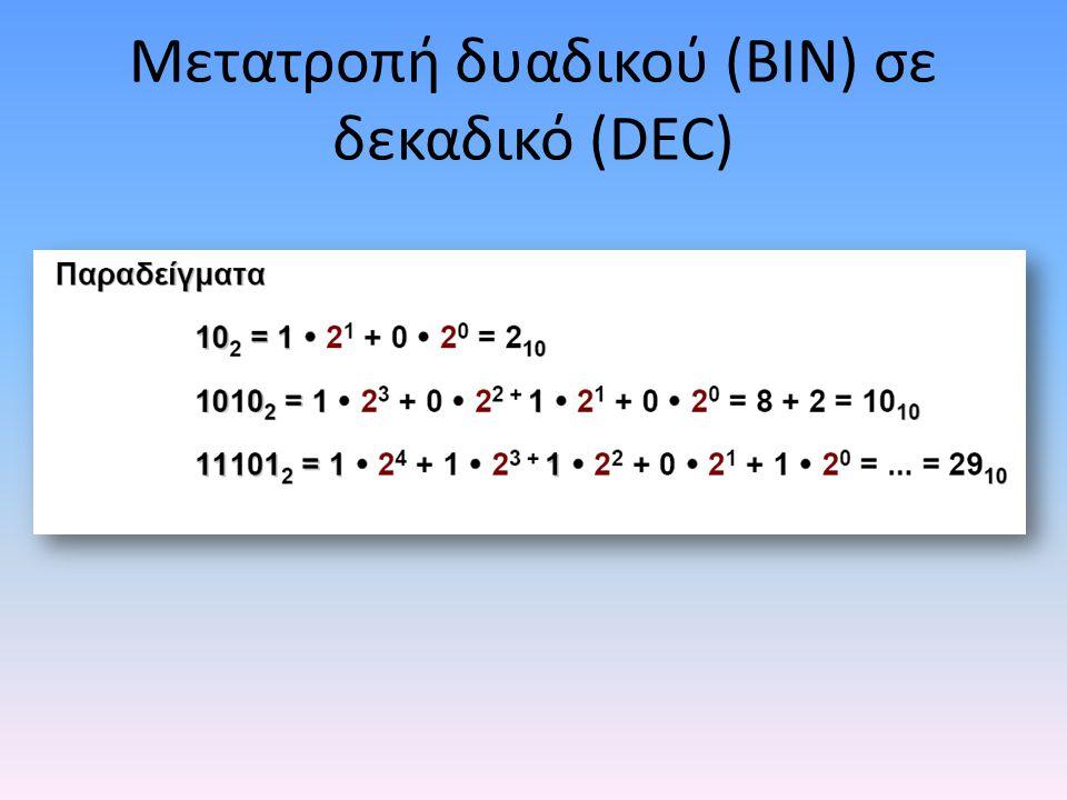 Μετατροπή δυαδικού (BIN) σε δεκαδικό (DEC)