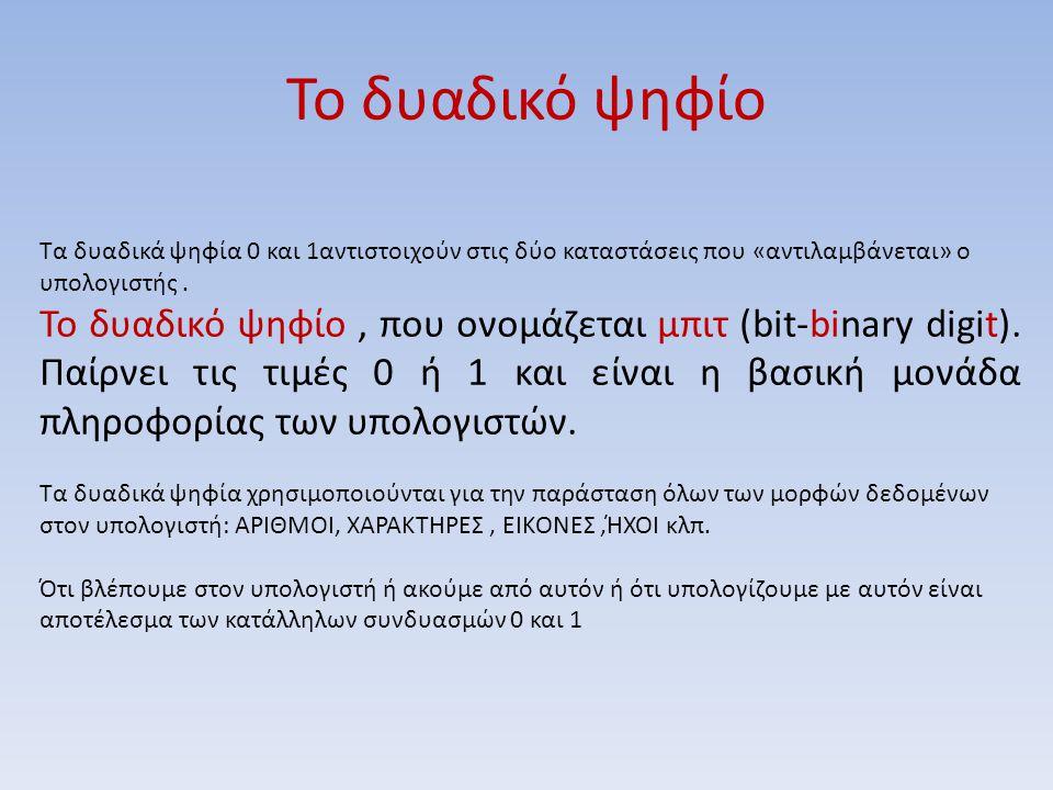 Το δυαδικό ψηφίο Τα δυαδικά ψηφία 0 και 1αντιστοιχούν στις δύο καταστάσεις που «αντιλαμβάνεται» ο υπολογιστής. Το δυαδικό ψηφίο, που ονομάζεται μπιτ (