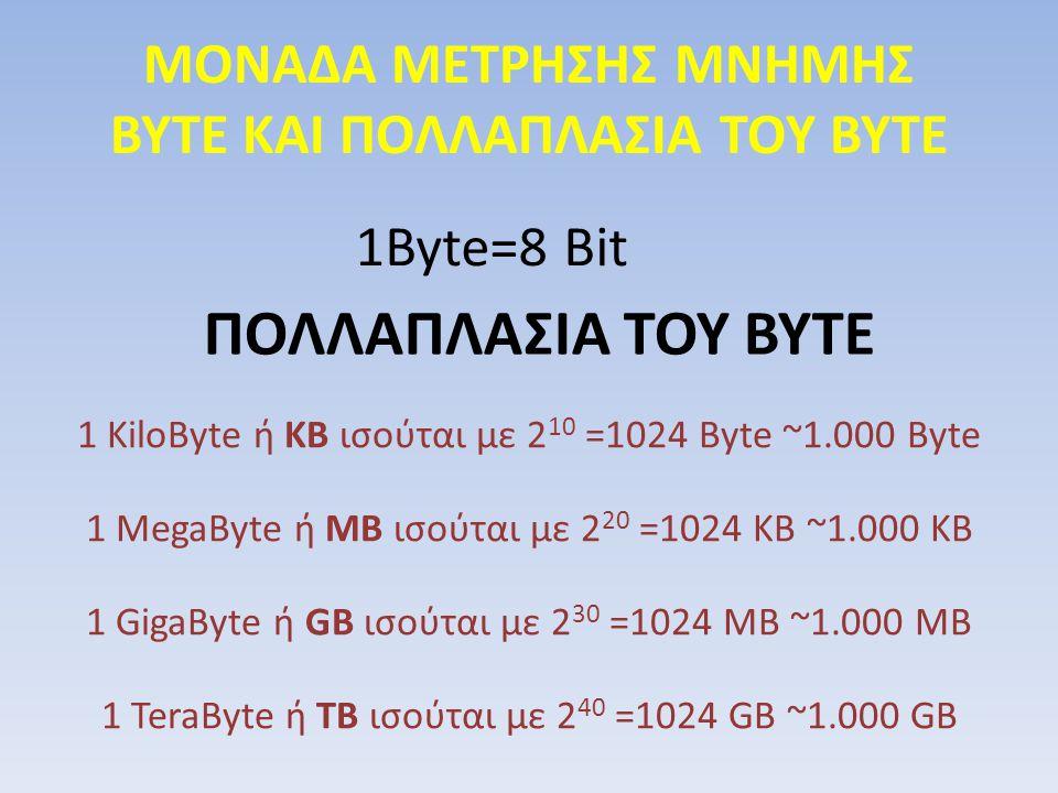 ΜΟΝΑΔΑ ΜΕΤΡΗΣΗΣ ΜΝΗΜΗΣ ΒΥΤΕ ΚΑΙ ΠΟΛΛΑΠΛΑΣΙΑ ΤΟΥ ΒΥΤΕ 1Byte=8 Bit ΠΟΛΛΑΠΛΑΣΙΑ ΤΟΥ ΒΥΤΕ 1 KiloByte ή KB ισούται με 2 10 =1024 Byte ~1.000 Byte 1 MegaByt