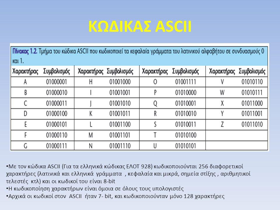 ΚΩΔΙΚΑΣ ASCII Με τον κώδικα ASCII (Για τα ελληνικά κώδικας ΕΛΟΤ 928) κωδικοποιούνται 256 διαφορετικοί χαρακτήρες (λατινικά και ελληνικά γράμματα, κεφα