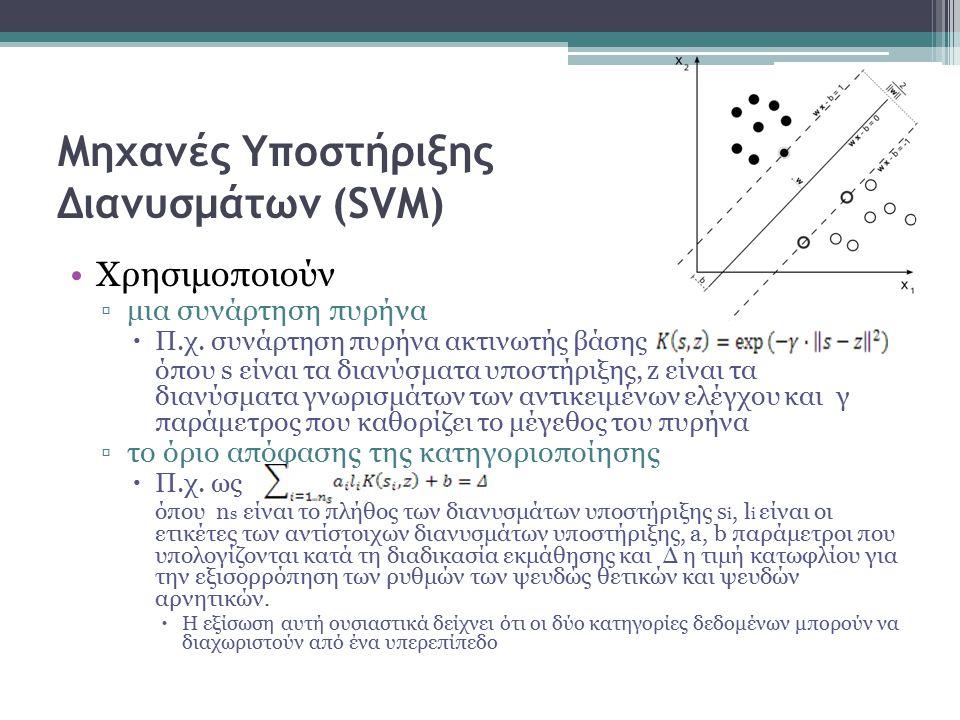 Χρησιμοποιούν ▫μια συνάρτηση πυρήνα  Π.χ. συνάρτηση πυρήνα ακτινωτής βάσης όπου s είναι τα διανύσματα υποστήριξης, z είναι τα διανύσματα γνωρισμάτων
