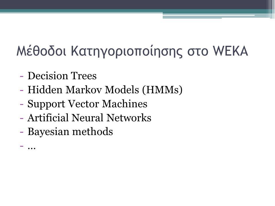 Μέθοδοι Κατηγοριοποίησης στο WEKA -Decision Trees -Hidden Markov Models (HMMs) -Support Vector Machines -Artificial Neural Networks -Bayesian methods