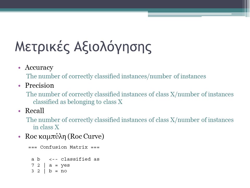 Μετρικές Αξιολόγησης Accuracy The number of correctly classified instances/number of instances Precision The number of correctly classified instances