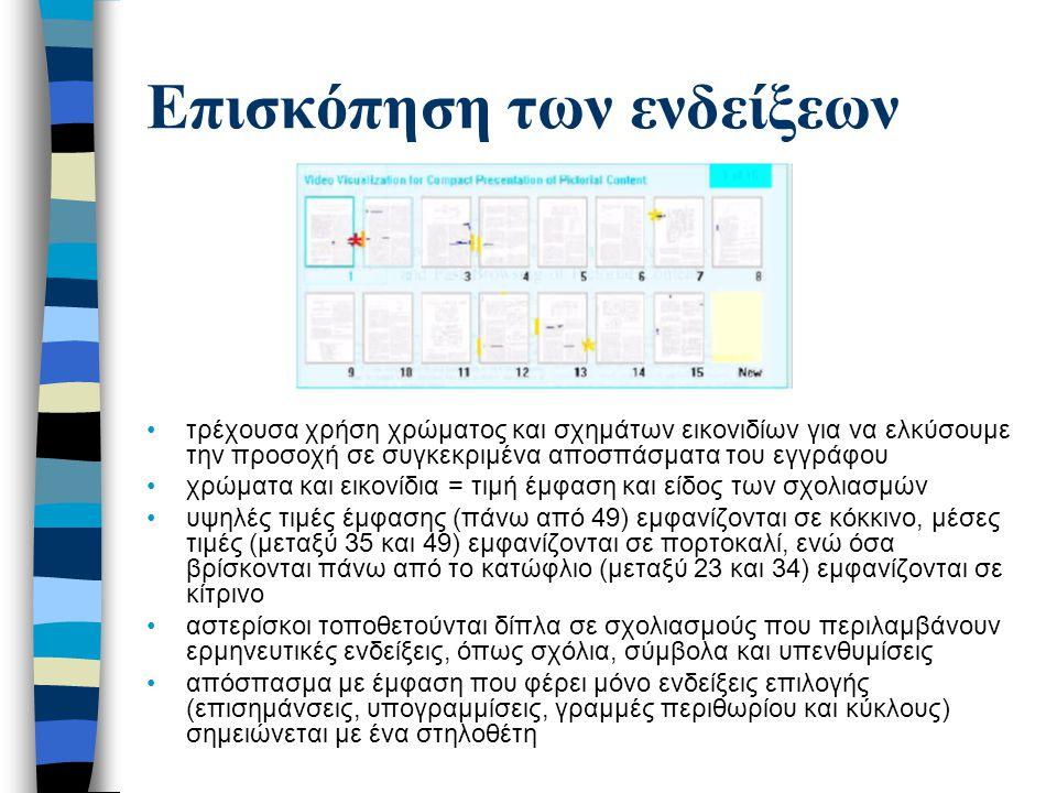 Επισκόπηση των ενδείξεων τρέχουσα χρήση χρώματος και σχημάτων εικονιδίων για να ελκύσουμε την προσοχή σε συγκεκριμένα αποσπάσματα του εγγράφου χρώματα