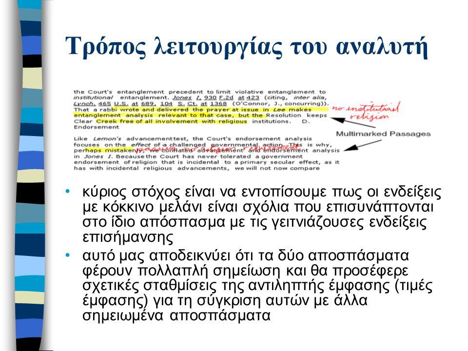Τρόπος λειτουργίας του αναλυτή Ο αναλυτής ενδείξεων αποτελείται από μια τριφασική διαδικασία ομαδοποίησης, δήλωσης τύπων και ιεράρχησης της σχετικής σπουδαιότητας των ενδείξεων των αναγνωστών πρώτο πέρασμα ομαδοποιεί τις χρονοκατανεμημένες ενδείξεις σε ομάδες χαμηλού επιπέδου ομαδοποιεί και τις πινελιές της γραφίδας που παριστούν εξαρτώμενες αλλά χωρικά διακριτές ενδείξεις καταλήγει σε μια ιεραρχική ομαδοποίηση ενός ή δύο επιπέδων των ενδείξεων σε ομάδες