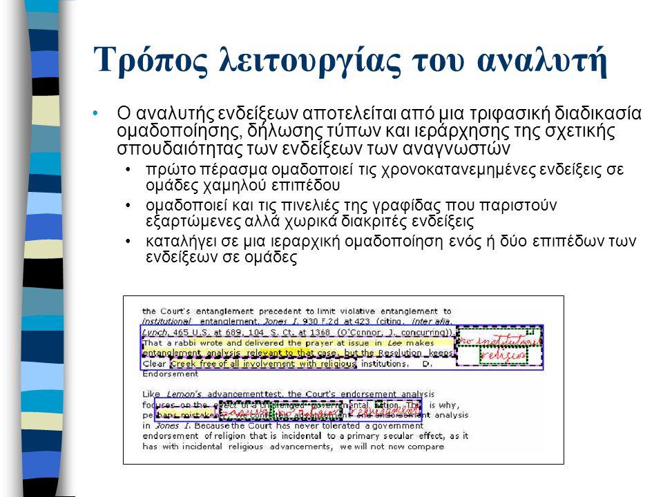 Τρόπος λειτουργίας του αναλυτή δεύτερο πέρασμα κατηγοριοποιεί τις συστοιχίες ενδείξεων σε είδη σχολιασμού χρησιμοποιώντας το είδος γραφίδας, τον αριθμών συνιστωσών ενδείξεων, καθώς και το μέγεθος και το σχήμα της έκτασης της συστοιχίας τρίτο πέρασμά oμαδοποιεί τις συστοιχίες ενδείξεων με αποσπάσματα από το κείμενο- πηγή.