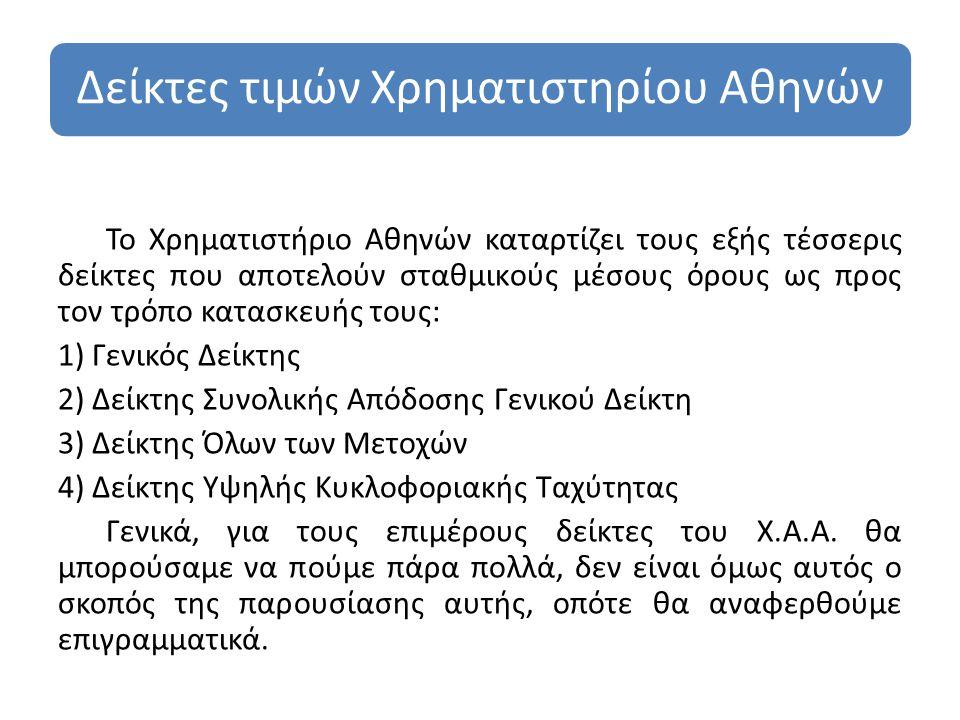 Δείκτες τιμών Χρηματιστηρίου Αθηνών Το Χρηματιστήριο Αθηνών καταρτίζει τους εξής τέσσερις δείκτες που αποτελούν σταθμικούς μέσους όρους ως προς τον τρόπο κατασκευής τους: 1) Γενικός Δείκτης 2) Δείκτης Συνολικής Απόδοσης Γενικού Δείκτη 3) Δείκτης Όλων των Μετοχών 4) Δείκτης Υψηλής Κυκλοφοριακής Ταχύτητας Γενικά, για τους επιμέρους δείκτες του Χ.Α.Α.