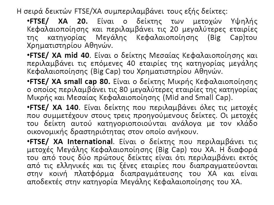 Η σειρά δεικτών FTSE/ΧΑ συμπεριλαμβάνει τους εξής δείκτες: FTSE/ ΧΑ 20.