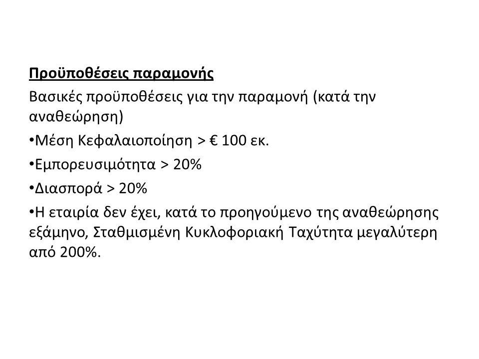 Προϋποθέσεις παραμονής Βασικές προϋποθέσεις για την παραμονή (κατά την αναθεώρηση) Μέση Κεφαλαιοποίηση > € 100 εκ. Εμπορευσιμότητα > 20% Διασπορά > 20