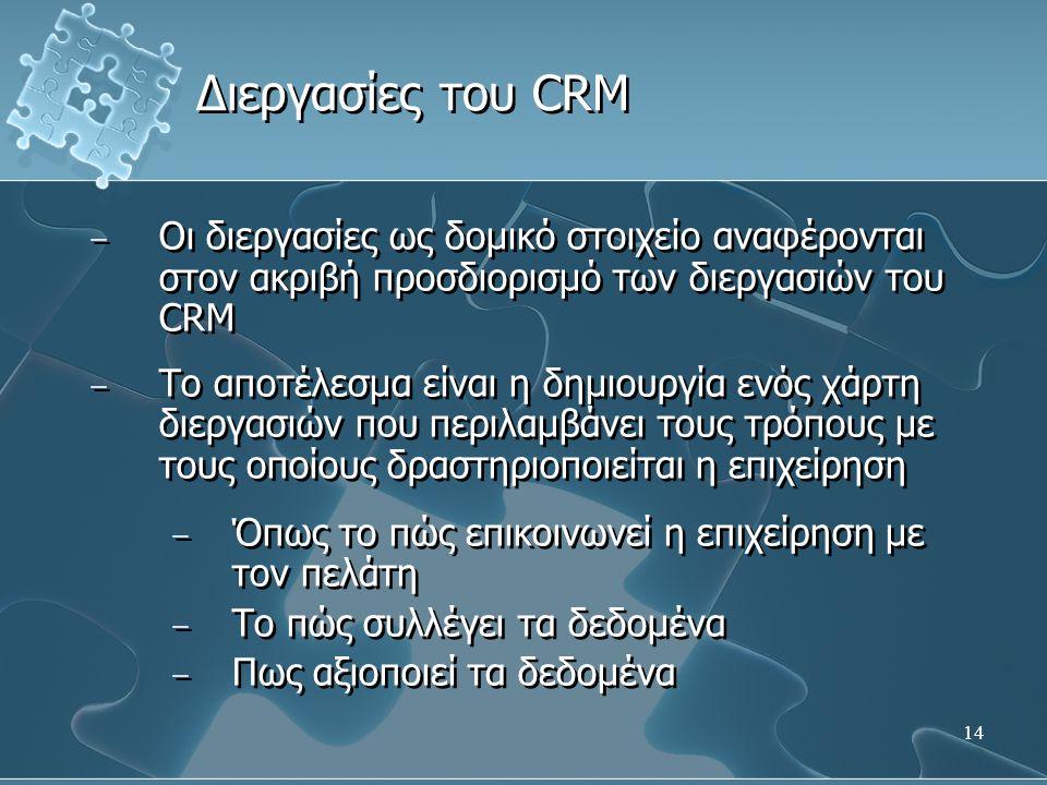 14 − Οι διεργασίες ως δομικό στοιχείο αναφέρονται στον ακριβή προσδιορισμό των διεργασιών του CRM − Το αποτέλεσμα είναι η δημιουργία ενός χάρτη διεργα
